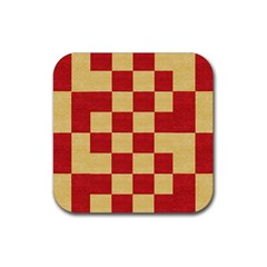 Fabric Geometric Red Gold Block Rubber Coaster (Square)