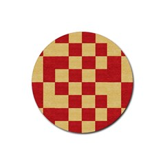 Fabric Geometric Red Gold Block Rubber Coaster (Round)