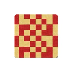 Fabric Geometric Red Gold Block Square Magnet