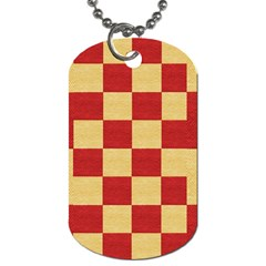 Fabric Geometric Red Gold Block Dog Tag (two Sides)