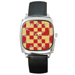 Fabric Geometric Red Gold Block Square Metal Watch