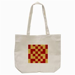 Fabric Geometric Red Gold Block Tote Bag (cream)