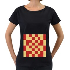Fabric Geometric Red Gold Block Women s Loose-Fit T-Shirt (Black)