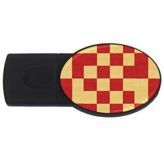 Fabric Geometric Red Gold Block USB Flash Drive Oval (4 GB)