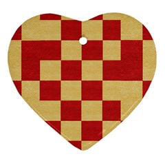 Fabric Geometric Red Gold Block Heart Ornament (Two Sides)
