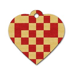 Fabric Geometric Red Gold Block Dog Tag Heart (Two Sides)