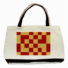 Fabric Geometric Red Gold Block Basic Tote Bag (Two Sides)