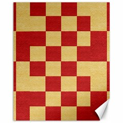 Fabric Geometric Red Gold Block Canvas 11  x 14