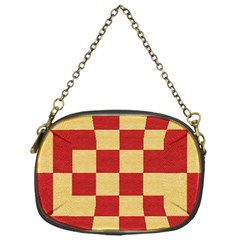 Fabric Geometric Red Gold Block Chain Purses (One Side)