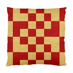 Fabric Geometric Red Gold Block Standard Cushion Case (two Sides)