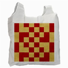 Fabric Geometric Red Gold Block Recycle Bag (One Side)