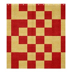 Fabric Geometric Red Gold Block Shower Curtain 66  x 72  (Large)