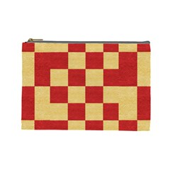 Fabric Geometric Red Gold Block Cosmetic Bag (Large)
