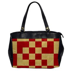 Fabric Geometric Red Gold Block Office Handbags