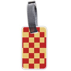 Fabric Geometric Red Gold Block Luggage Tags (One Side)