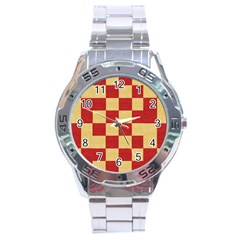 Fabric Geometric Red Gold Block Stainless Steel Analogue Watch