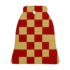 Fabric Geometric Red Gold Block Bell Ornament (Two Sides)