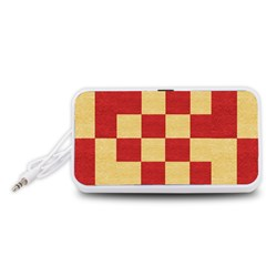 Fabric Geometric Red Gold Block Portable Speaker (White)