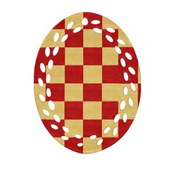 Fabric Geometric Red Gold Block Ornament (oval Filigree)