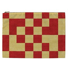 Fabric Geometric Red Gold Block Cosmetic Bag (xxl)