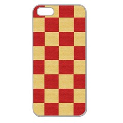 Fabric Geometric Red Gold Block Apple Seamless iPhone 5 Case (Clear)