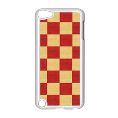 Fabric Geometric Red Gold Block Apple iPod Touch 5 Case (White)