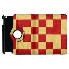 Fabric Geometric Red Gold Block Apple iPad 3/4 Flip 360 Case
