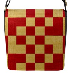 Fabric Geometric Red Gold Block Flap Messenger Bag (S)