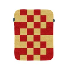 Fabric Geometric Red Gold Block Apple Ipad 2/3/4 Protective Soft Cases
