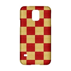 Fabric Geometric Red Gold Block Samsung Galaxy S5 Hardshell Case