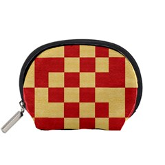 Fabric Geometric Red Gold Block Accessory Pouches (Small)