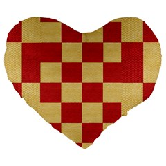 Fabric Geometric Red Gold Block Large 19  Premium Flano Heart Shape Cushions