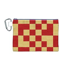 Fabric Geometric Red Gold Block Canvas Cosmetic Bag (m)