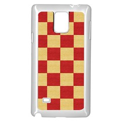 Fabric Geometric Red Gold Block Samsung Galaxy Note 4 Case (White)