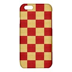 Fabric Geometric Red Gold Block iPhone 6/6S TPU Case