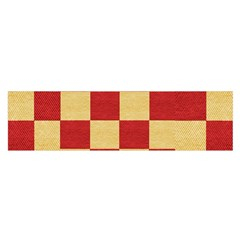 Fabric Geometric Red Gold Block Satin Scarf (Oblong)