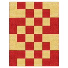 Fabric Geometric Red Gold Block Drawstring Bag (large)
