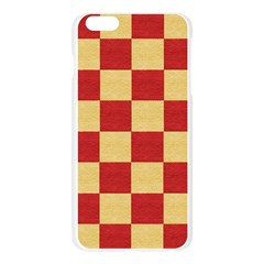 Fabric Geometric Red Gold Block Apple Seamless iPhone 6 Plus/6S Plus Case (Transparent)