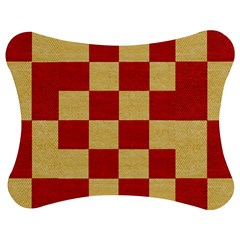 Fabric Geometric Red Gold Block Jigsaw Puzzle Photo Stand (Bow)