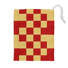 Fabric Geometric Red Gold Block Drawstring Pouches (Extra Large)