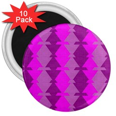 Fabric Textile Design Purple Pink 3  Magnets (10 Pack)