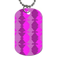 Fabric Textile Design Purple Pink Dog Tag (one Side)