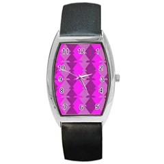 Fabric Textile Design Purple Pink Barrel Style Metal Watch