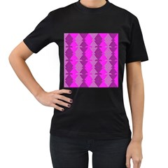Fabric Textile Design Purple Pink Women s T-Shirt (Black) (Two Sided)
