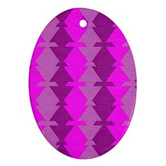 Fabric Textile Design Purple Pink Oval Ornament (Two Sides)