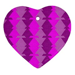 Fabric Textile Design Purple Pink Heart Ornament (Two Sides)