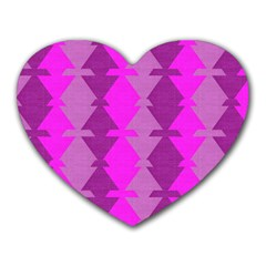 Fabric Textile Design Purple Pink Heart Mousepads