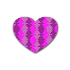 Fabric Textile Design Purple Pink Heart Coaster (4 pack)