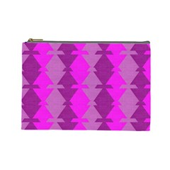Fabric Textile Design Purple Pink Cosmetic Bag (large)