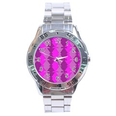 Fabric Textile Design Purple Pink Stainless Steel Analogue Watch
